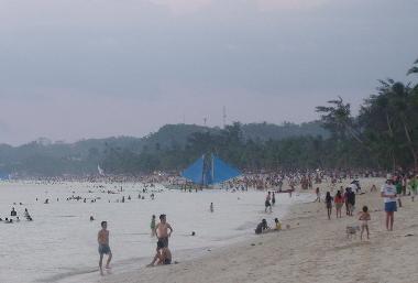 Boracay beach during crowded tourist season