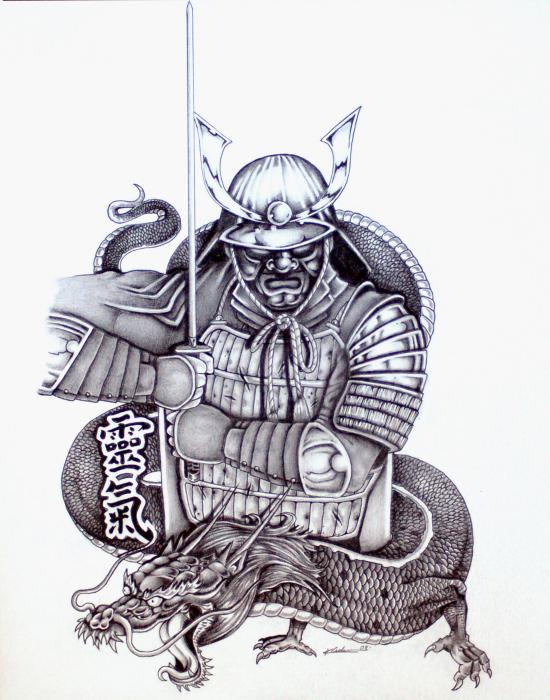 japanese samurai tattoo with japanese dragon tattoos